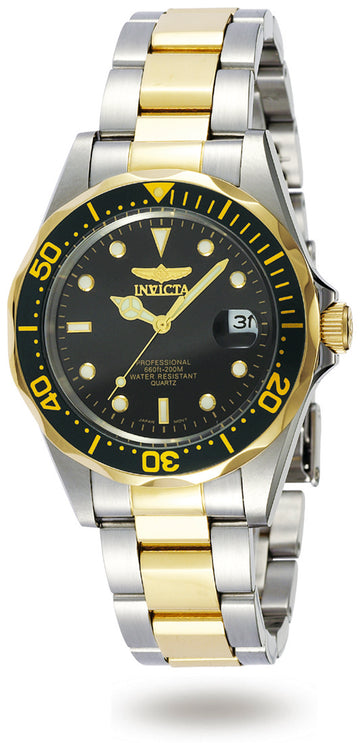 Invicta 8934 Men's Two Tone Yellow Steel Bracelet Quartz Pro Diver