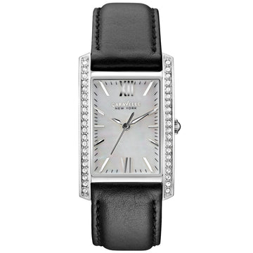 Caravelle 43L162 Womens Crystal New York MOP White Dial Black Leather Band Watch