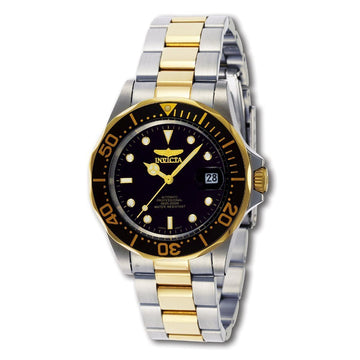 Invicta Men's Automatic Watch - Pro Diver Two Tone Yellow Bracelet Black Dial | 8927