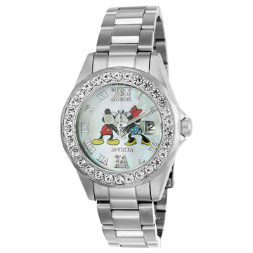 Invicta 24395 Women's Disney Edition Crystal White MOP Dial Steel Bracelet Dive Watch