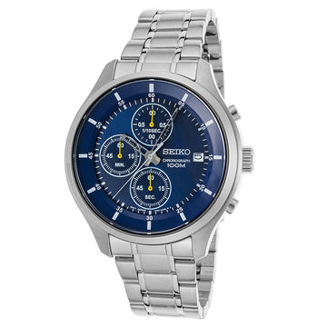 Seiko SKS537P1 Men's Sports Stainless Steel Bracelet Chronograph Blue Dial Date Watch