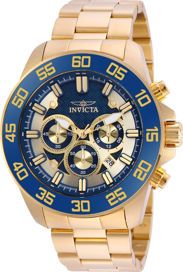 Invicta 24727 Men's Pro Diver Blue & Gold Tone Dial Yellow Gold Steel Bracelet Chronograph Watch