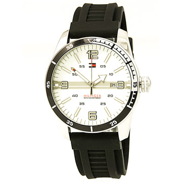 Tommy Hilfiger 1790919 Men's NOAH Casual Sports White Dial Black Rubber