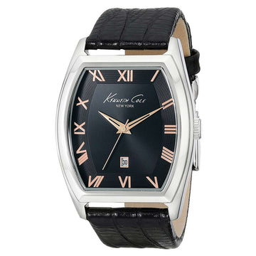 Kenneth Cole KC8013 Men's Classic Black Dial Black Croco Grain Leather Strap Watch