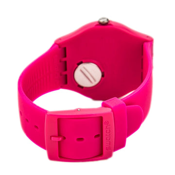 Swatch SUOR704 Unisex Rubine Rebel Pink Silicone Rubber Strap Swiss Pink Dial Day Date Watch