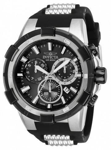 Invicta Men's Chronograph Watch - Aviator Black Silicone & Steel Strap | 25860
