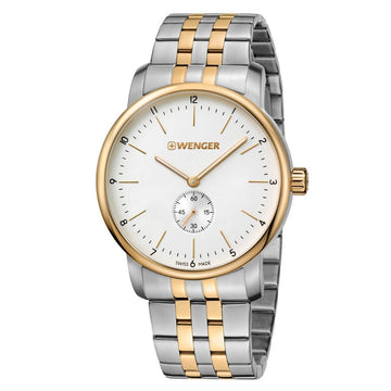 Wenger Men's Two Tone Steel Watch - Urban Classic White Dial Swiss | 01.1741.125
