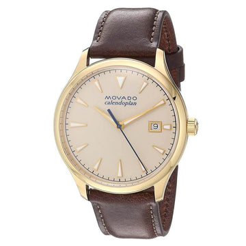 Movado Men's Strap Watch - Heritage Calendoplan Beige Dial Brown Leather | 3650003