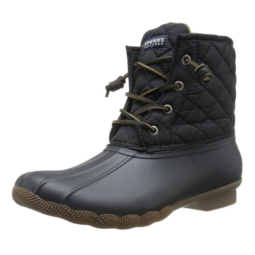 Sperry STS94063 Women's Saltwater Black Quilted Nylon & Rubber Waterproof Duck Boot