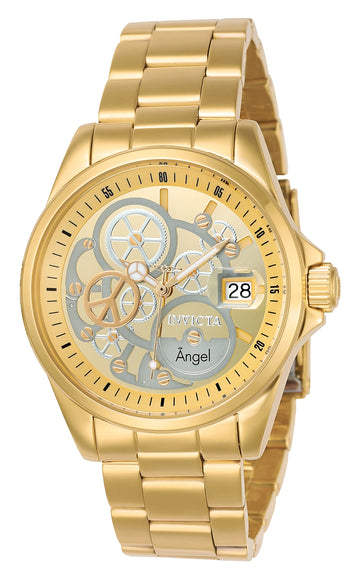 Invicta 23568 Women's Angel Gold & Silver Dial Yellow Gold Steel Bracelet Dive Watch