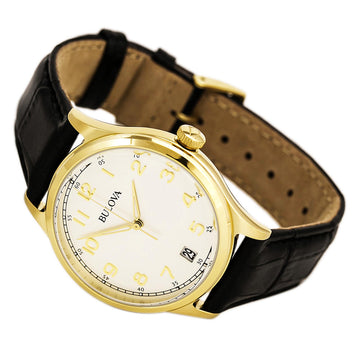 Bulova Men's Leather Strap Watch - Classic Yellow Gold Steel Grey Dial | 97B147