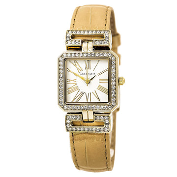 Anne Klein 2396WTTN Women's White Dial Tan Croco Grain Leather Strap Swarovski Crystal Watch