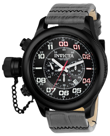 Invicta 22289 Men's Russian Diver Chronograph Grey & Black Dial Grey Leather Strap Lefty Watch