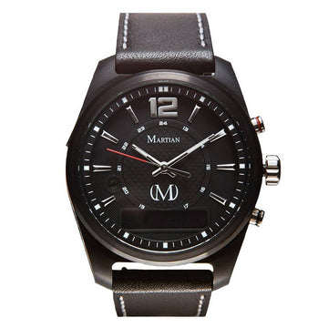 Martian MVR03AE011 Men's AE01 mVoice Black Leather Strap Black Ana-Digi Dial Smartwatch