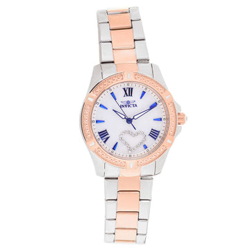 Invicta 23657 Women's Angel White Oyster Dial Two Tone Rose Gold Steel Crystal Watch