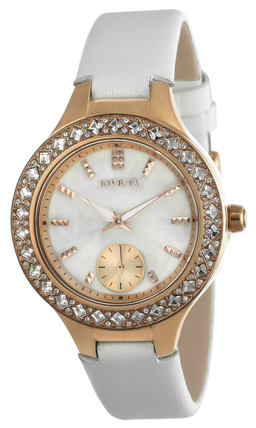 Invicta 24558 Women's Wildflower White Oyster Dial White Leather Strap Crystal Watch