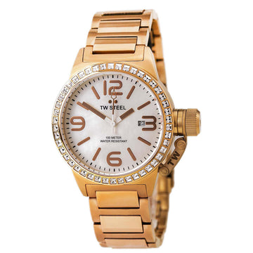 TW Steel TW306 Women's Canteen Swarovski Crystal Rose Gold Plated Steel Bracelet MOP Dial Watch