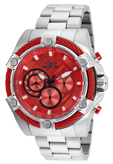 Invicta Men's Chronograph Watch - Bolt Red Dial Stainless Steel Bracelet | 25513