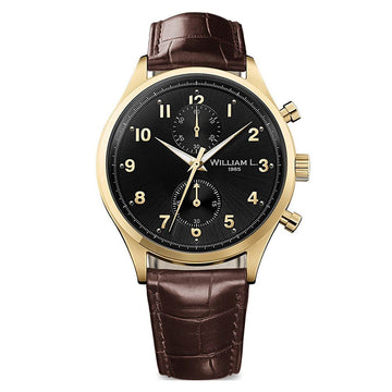 William L. 1985 WLOJ02NROJCM Men's Small Chronographs Vintage Style Black Dial Brown Strap Watch