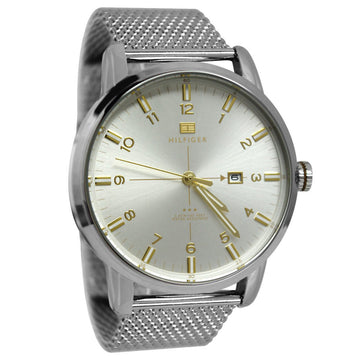 Tommy Hilfiger 1710333 Men's Casual Sport Silver Dial Stainless Steel Mesh Bracelet Watch