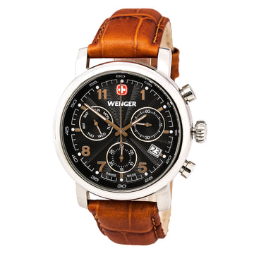 Wenger 01.1043.103 Men's Urban Classic Chrono Brown Leather Strap Black Dial Day Date Watch