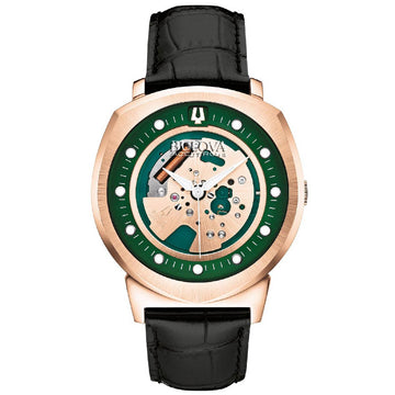 Bulova 97A122 Men's Accutron II Green & Rose Gold Skeleton Dial Black Leather Strap Watch