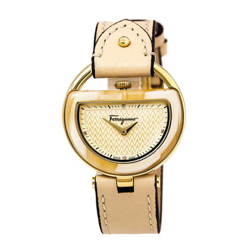 Ferragamo FG5070014 Women's Beige Leather Strap Swiss Watch