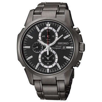Seiko SSC095 Men's Solar Chronograph Black IP Steel Bracelet Black Dial Alarm Date Watch