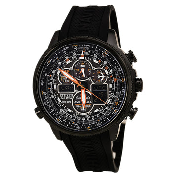 Citizen Men's Chronograph Watch - Navihawk Eco Drive Black Ana-Digi Dial Black Strap