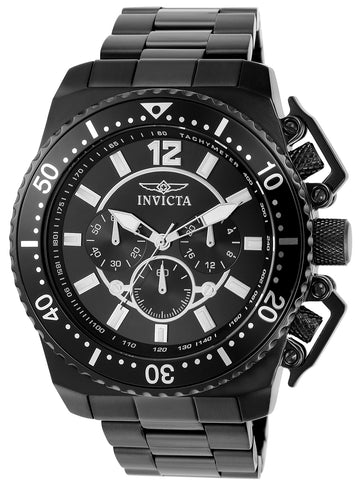 Invicta Men's Chronograph Watch - Pro Diver Black Dial Black Steel Bracelet | 21959