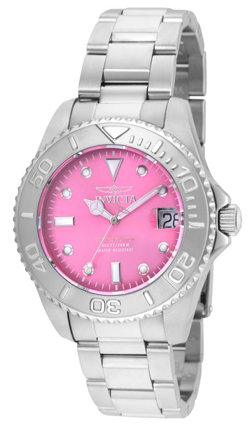 Invicta 24627 Women's Pro Diver Pink Dial Stainless Steel Bracelet Dive Watch