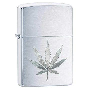 Zippo Windproof Pocket Lighter - Classic Marijuana Leaf Brushed Chrome | 29587