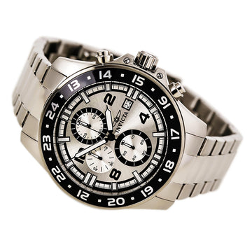 Invicta Men's Chronograph Watch - Pro Diver Quartz Silver Dial Steel Bracelet | 13866