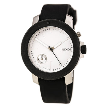 Nixon A317000 Women's The Raider Black Silicone Strap Quartz Silver Dial Crystal Watch