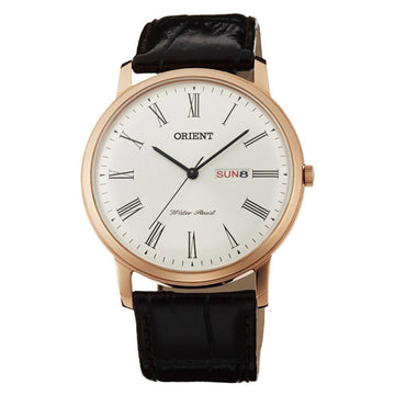 Orient Men's Capital 2 Classic Watch - White Dial Brown Leather Strap | UG1R006W