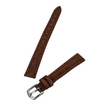 Hadley Roma Brown 12 mm Wide Lizard Grain Leather Strap