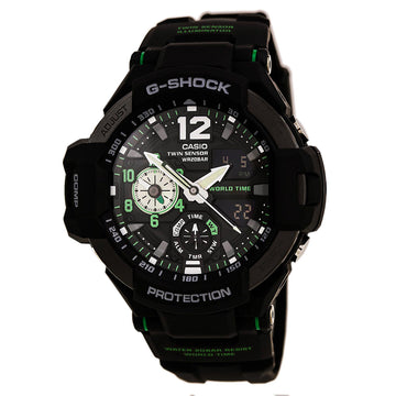 Casio Men's World Time Watch - G-Shock Gravitymaster Ana-Digi Black Dial | GA1100-1A3