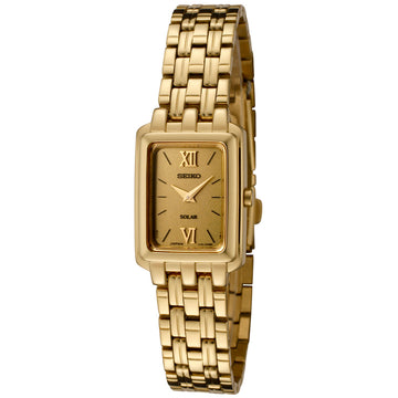 Seiko SUP012P1 Women's Solar Gold Dial Gold Plated Steel Watch