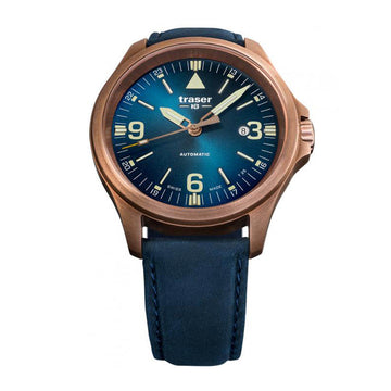Traser Men's Automatic Watch - P67 Officer Pro Blue Dial Blue Leather Strap | 108074