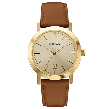 Bulova 97B135 Men's Gold Dial Gold Steel Brown Leather Strap Date Watch