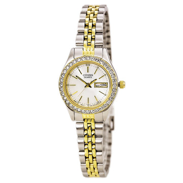 Citizen EQ0534-50D Women's Quartz MOP Dial Swarovski Crystal Bezel Two Tone Watch