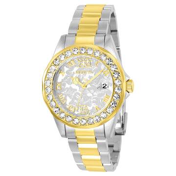 Invicta Women's Disney Limited Edition Quartz Watch - Two Tone Steel Silver Dial