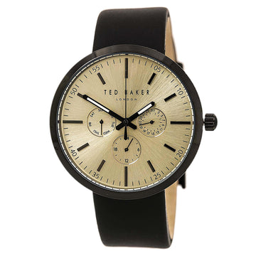 Ted Baker 10026555 Men's Smart Casual Gold Tone Dial Black Leather Strap Watch