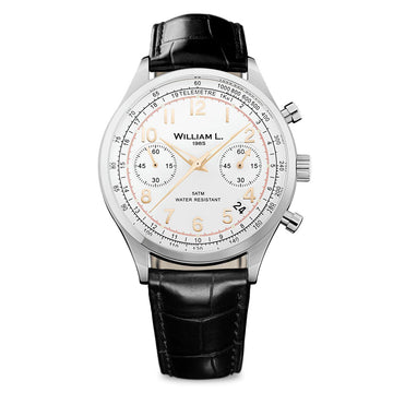 William L. 1985 WLAC01BCORCN Men's Chronographs White Dial Black Croco Leather Strap Watch