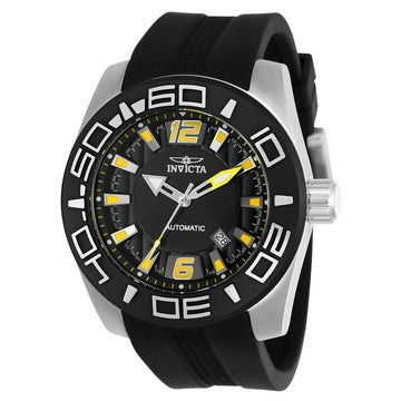 Invicta Men's Automatic Watch - Aviator Black Silicone Strap Black Dial Date | 23529