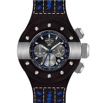 Invicta Men's Chronograph Watch - S1 Rally Black & Blue Strap Black Dial Date | 19176