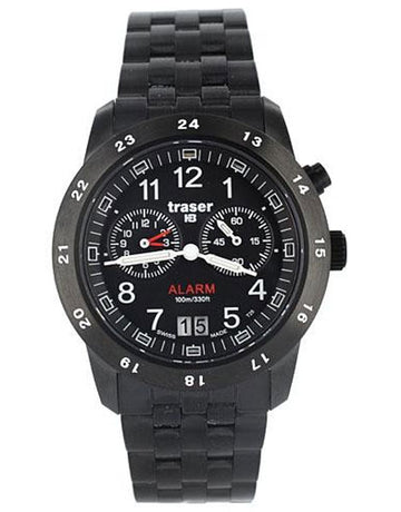 Traser T4004.359.34.01 Men's Black Plated SS Alarm Watch