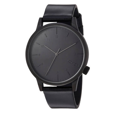 Komono Unisex Strap Watch - Winston Regal Black Dial Black Leather | KOM-W2264