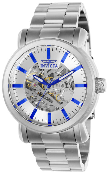 Invicta Men's Automatic Stainless Steel Watch - Vintage Semi-Skeleton Silver Dial
