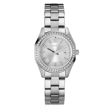 Caravelle 43M120 Women's Crystal Silver Dial Stainless Steel Bracelet Watch